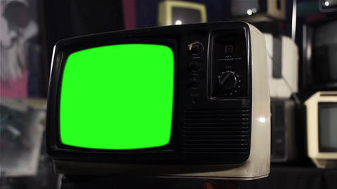 Old Tv With Green Screen Live Action