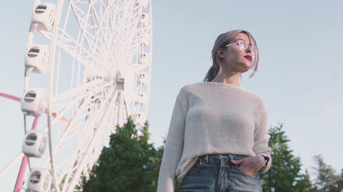 Attractive girl in glasses standing under ferris wheel in amusment park Footage