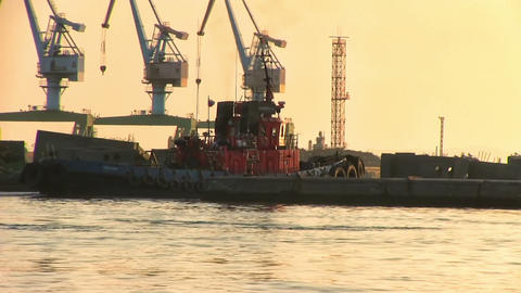 Cargo Ship Leaves the Port Footage