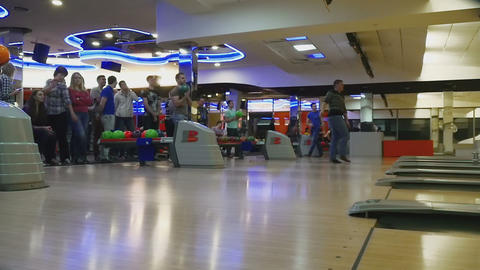 Family competitions in bowling club Quantum Footage