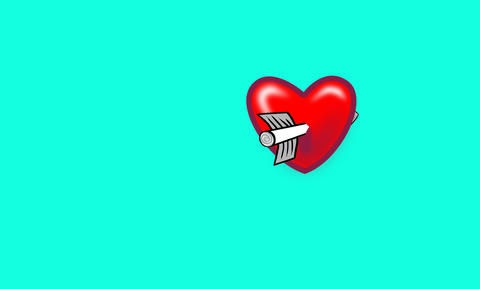 Heart struck by Cupids arrow Animation
