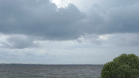 The evening sky in the clouds over the river Volga Footage