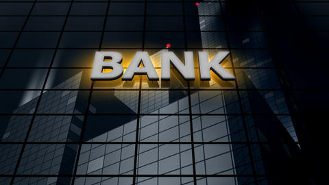 Bank building blue sky time-lapse Animation