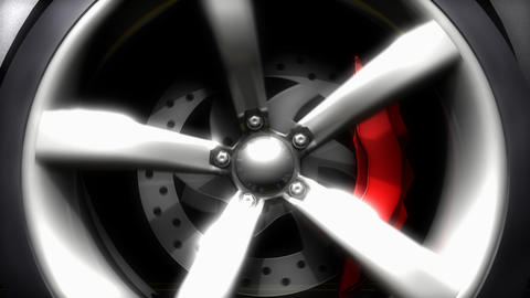 Car wheel, close up, running, spinning Animation