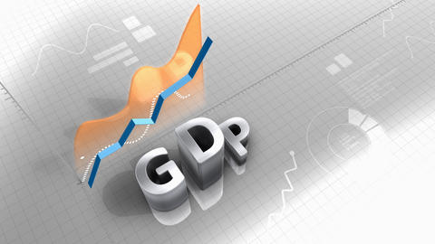 Growing chart GDP, gross domestic product Animation