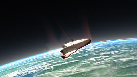 Spaceship re-entry, descending Animation