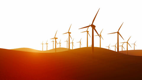 Silhouettes of wind turbines on white background Animation