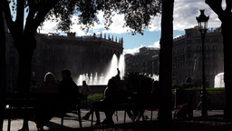 Catalonia Square high contrast shot, bright fountain water and sky Live Action