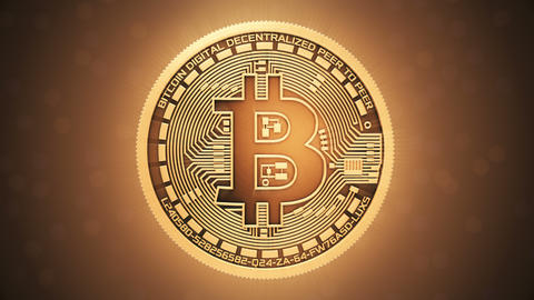 Rotation of a Bitcoin on a shiny background CG動画素材