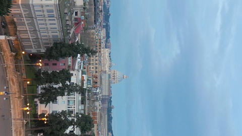 Vertical video. St. Peter's Basilica, the view from Piazza del Popolo. Rome, Footage