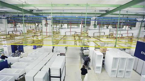 Fridge Factory. Production Line. Refrigerator Factory Footage