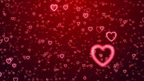 Heart love valentine day wedding anniversary abstract particles background loop GIF