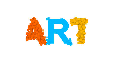 text ART from letters of different colors appears behind small squares. Then Animation