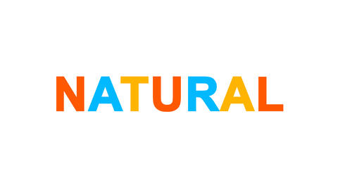 text NATURAL from letters of different colors appears behind small squares. Then Animation