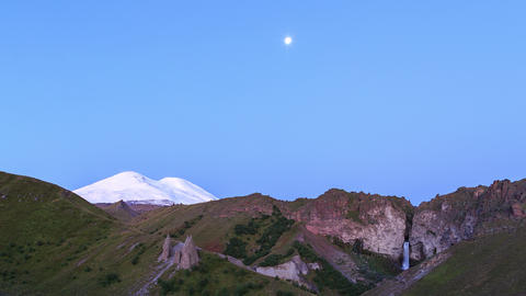 Mount Elbrus at dawn. Caucasus Mountains, Russia Footage