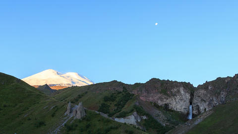 Mount Elbrus at dawn. Caucasus Mountains, Russia Footage