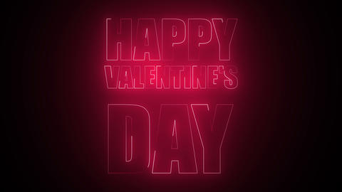 Happy Valentine's Day Text in neon Live Action