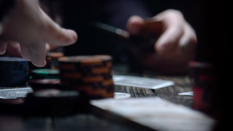 Croupier dealing cards in a poker Footage