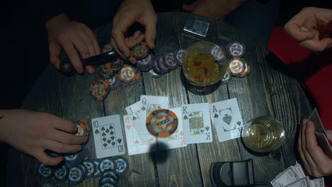 Poker player throwing cards and win the game Footage