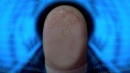 Fingerprint identification scan for security control on futuristic HUD concept Animation