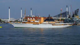 The Danish Royal Yacht Dannebrog, Copenhagen Harbour, Copenhagen, Denmark Footage
