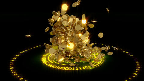 3D model of the bitcoin logo gold coins that scatter in different directions 영상물