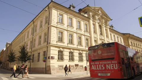 historic building with bus passing, Innsbruck Footage