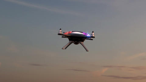 Police drone flies against time-lapse sky background Animation