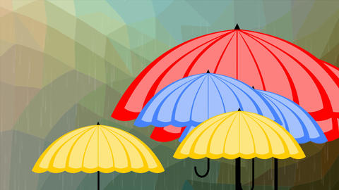 Flying multicolored umbrellas behind glass with raindrops, weather forecast Animation