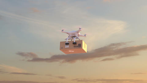 Drone deliver a parcel Animation