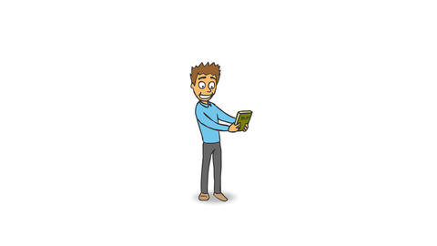 Cartoon Funny Character Rejoices Buying a New Book and Jumps for Joy GIF