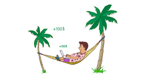 Cartoon Funny Character Freelancer with a Laptop in a Hammock, seamless loop CG動画素材