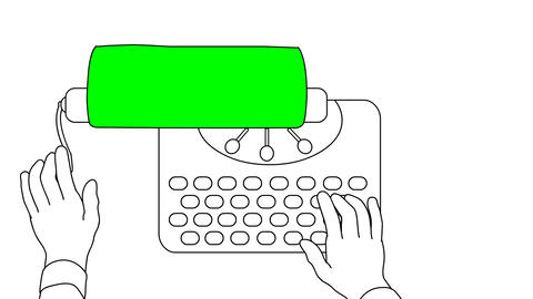 Hands typing text on a typewriter. With alpha matte. Animation looped Animation