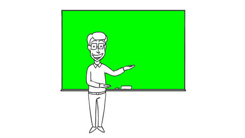 Cartoon Funny Character Man Erases and Writes on the Board GIF