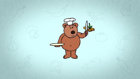 Cartoon Character Teddy Bear Chef. Colourful background.…, Banco de Videos Animados