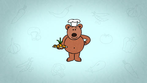 Cartoon Character Teddy Bear Chef. Colourful background. With alpha matte Animation