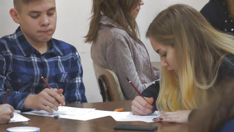 Students draw in class Footage