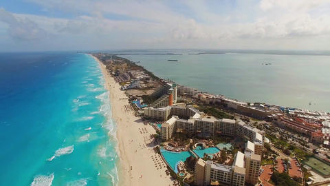 Aerial view Cancun, a city in Mexico, the Riviera Maya Footage