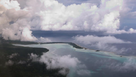 Solomon islands. Flight near one of the islands. (View from the airplane) Footage