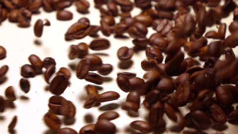 Falling roasted coffee beans covering white background, super slow motion shot Footage