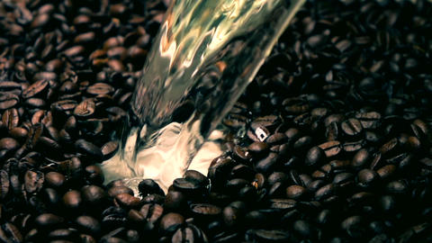 Super slow motion shot of pouring water on roasted coffee beans. Cold colors Footage