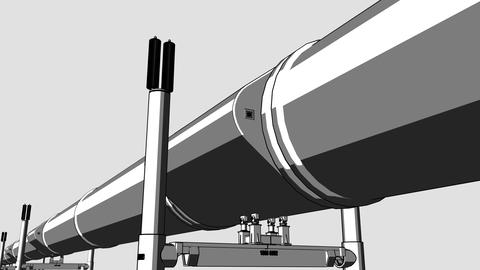 Cartoon black pipeline loop dolly CG animation for reports and presentations, 4K Footage
