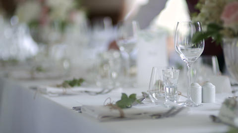 Decorated table for luxury, elegant dinner Live Action