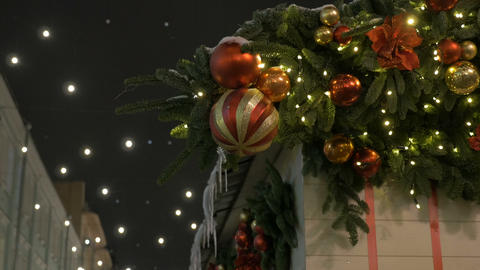 Festive beautiful balls, this is the decoration of the city for the new year Footage