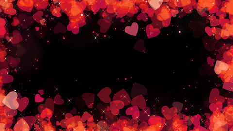 Valentine red hearts frame background with alpha, looped Animation