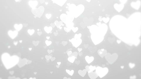 White hearts romantic background, Looped Animation