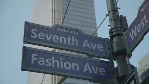 Seventh Ave And Fashion Ave Cross Road In New York Live Action