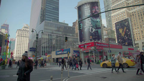 Commuters Cross The Road, New York Footage