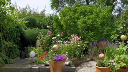 Idyllic garden in the summer, Bavaria, Germany, Europe Footage