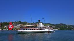 Paddle Steamer Gallia on Lake Lucerne from Lucerne, Switzerland, Europe Footage